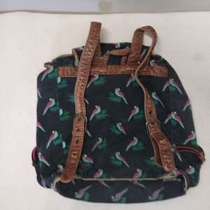 Ladies backpack leather and cloth